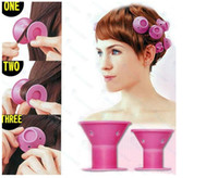 Wholesale Diy Magic Curler Roller - silicone curlers 10Pcs set Hairstyle Soft Hair Care DIY Peco Roll Hair Style Roller Curler Salon Soft Silicone Pink Color Hair Roller +gift