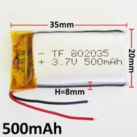 Wholesale Li Ion Battery Cell 3.7v - 3.7V 500mAh 802035 Lithium Polymer Rechargeable Battery LiPo cells li ion power For Mp3 headphone DVD GPS mobile phone Camera psp Toys