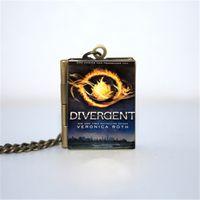 Wholesale Divergent Jewelry - 12pcs Divergent Book Locket Necklace, Bronze tone book jewelry