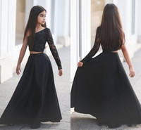 ingrosso un vestito dalla spalla del rhinestone puro-Nuovo stile One-spalla nero Pageant abiti da ragazza Due pezzi Appliques Strass Sheer Long Sleeve Long Kid Formal Party Dresses