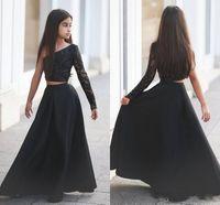 robe longue formelle en strass noir achat en gros de-Pageant New Girl's Black style d'une épaule robes deux pièces Appliques strass pure manches longues Kid longues robes de soirée formelle