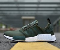 Avec Box NMD_R1 Chaussures de course vert olive pour homme Nouveau 2017 Summer Knitting nmd runner Sneakers Ultra Boots Drop Shipping