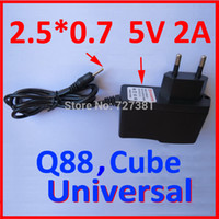 Wholesale China Free Shipping Eu Chargers - Wholesale- 2PC LOT Free Shipping EU Power Adapter for Q88 China Tablet PC Europe Charger Universal 5V 2A 2.5mm 90cm Round Pin Wholesales !