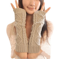 Wholesale long fingerless gloves crochet resale online - Women Crochet Arm Warmer Long Fingerless Elbow Gloves Knit Mitten Winter Gloves