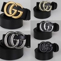 Wholesale IN stock colors Double G button men Smooth buckle belts High quality belts designer ceintuur genuine leather belt for men women belts