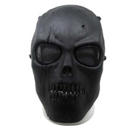 Wholesale army full face mask online - 2017 new Army Mesh Full Face Mask Skull Skeleton Gun Game Protect Safety Mask