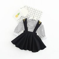 Wholesale Strip Blouse - New Arrivals baby girl set 100%Cotton long sleeve stripped print shirt+ suspender skirt little girl elegant blouse and shirt