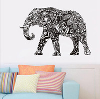 elefanten entfernbare wandtattoos groihandel-Elefant Wandaufkleber Abnehmbare Schwarz PVC Wandtattoo Wohnkultur Wohnzimmer Wandkunst Aufkleber OOA1765