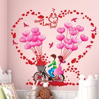 Wholesale Wall Decals Bikes - Romantic bike balloon wall sticker decals couples home decor wall stickers room decoration heart flower wall mural sticker