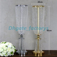 Wholesale Decorations Bling Flower - Bling Gold Metal Wedding Table Centerpiece Crystal Flower Stand Wedding Props Table Centerpiece