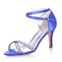 Clearbridal Women's Satin Wedding Bridal Shoes Open Toe Sandal para Evening Prom Party High Heel com Crystal ZXF9920-05