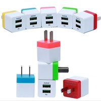 Wholesale Blackberry Cube - Small Cube Dual Wall Charger 2.1A 1A Travel Adapter US plug AC Power Adapter 2 port Colorful Wall Charger DHL