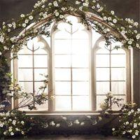 Wholesale photography backdrops interiors online - Romantic Wedding Photo Studio Backdrop French Window White Flowers Interior Room Vintage Photography Backgrounds Photograph Background