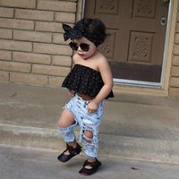 Wholesale Girl Big Bottom - Girls Boys Big Hole Jeans Summer Children's Bottoms Outerwear Baby Costume Kids Denim Pants with PP Bag 2103027
