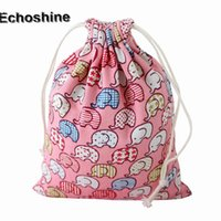 розовые сумки оптовых-Wholesale- Hot Sale 2016  Pink Elephant Printing Women Drawstring Bag Beam Port Storage Gift Bag Cotton Cloth Unisex Small Pouch