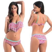 Wholesale Heart Shaped Swimwear - 2017 New Tassel Bikini Set Push Up Swimsuit Heart-shaped Swim Top Print Swimwear Women Low Waist Brazilian Bikinis