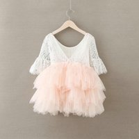 Wholesale Christmas Tutus Baby - Christmas Baby LACE Dresses Girls Princess half sleeves Dress For Babies Cotton Children Dress Baby Girls Clothing tutu Pearl Party Dress