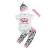 Wholesale Zebra Kids Hat - Baby Girl 4pcs Clothing Set 2017 Summer Daddy Mommy's Miracle Romper+Zebra Pant+Hat Cap+Bow Headband Angel Wing Kids Girls Clothes Outfits