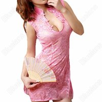 Wholesale Cheongsam Sexy Underwear - Wholesale- Sexy Cheongsam Lace Women's Lingerie Underwear Nightdress Nightwear Sleepwear + G-String Set 93MA