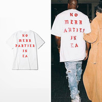 Wholesale kanye west t shirts - Mens Summer Tees Kanye West No More Parties in LA Letter printed Short Sleeve Shirt Men Designer Cotton T-shirt Clothing S-3XL