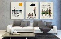 3pcs / set HD Print Life Oil Painting On Canvas - Cidade Vida em Londres Paris New York Modern Giclee Wall Art Posters For Home Decor