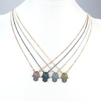 New Fashion Evil Eyes of Hollow-sculpted Design Hamsa Shape com Blue Jewelry Set Decoração Copper Metal Pendant Necklace JF