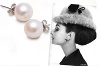 30% Silver Copper plating platine 925 mark Coréenne Imitation Pearl Ear Studs 6mm 8mm Boucles d'oreilles perle / fashion fashion pearl