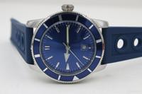 Wholesale Luxury Watches Superocean - Luxury brand Mens Superocean Heritage Blue Dial Date Rubber Belt stainless steel Sport Chronograph Watch Men rubber belt Dive Wristwatch