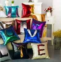 Wholesale Patchwork Sofa Covers - Beding Sofa Decorative Mermaid Pillowcase Double-sided Sequin Pillow Cover Embroidery Christmas letter numeral