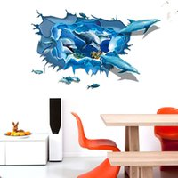 New Cartoon Dolphin Wall Stickers DIY Art Decal Papel de parede removível Mural Sticker for Kids Room Kindergarten free shipping