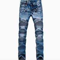 ingrosso joggers blu per gli uomini-All'ingrosso-Moda uomo Designer Brand Strappato Biker Jeans Uomo Distressed Moto Denim Joggers lavato Jeans a pieghe Pantaloni Black Blue White