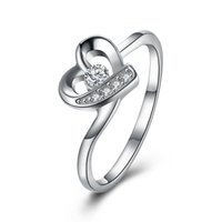 Amore a forma di cuore 925 Sterling Silver Ring Wedding Engagement Party Anniversario Natale San Valentino Regali del Ringraziamento Ladies Girls Women