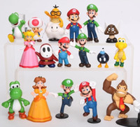 Wholesale Super Mario Peach - Super Mario Bros 18 pcs PVC Figure topper Super Mario nds Luigi Peach yoshi Dinosaur Action Figures Toys