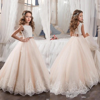 Wholesale Blushing Pink - 2017 Vintage Flower Girl Dresses For Weddings Blush Pink Princess Tutu Sequined Appliqued Lace Bow junior Kids First Communion Gowns