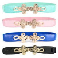 Atacado- Mulheres Gold Metal Twist Buckle Stretch Belt Chinesa Knot Skinny Waist Band NY011