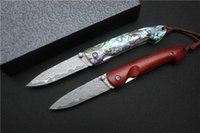 Wholesale High End Damascus Steel Knives - Free shipping,small damascus knives folding knives 4 options pocket knife collection gift Xmas High-end EDC tools black box