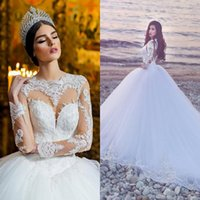 Wholesale Collar Neckline Wedding Dress - 2017 Long Sleeves Wedding Dresses Bridal Gowns Sexy Sheer Neckline Keyhole Back New Wedding Gowns with Lace Appliques