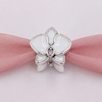 Wholesale Orchid Jewelry Wholesale - Authentic 925 Sterling Silver Beads Orchid White Enamel Charms Fits European Pandora Style Jewelry Bracelets & Necklace 792074EN12