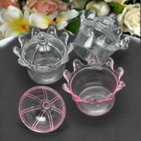 Wholesale Crown Baby Shower Favors - Free Shipping 50pcs Creative Transparent Clear Crown Candy Box Baby Shower Plastic Candy Holder Kids Party Favors and Birthday Gifts