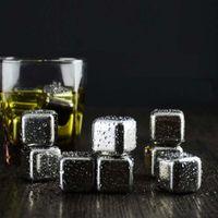 ingrosso pietre di whisky in acciaio inox-Cubetti di ghiaccio in acciaio inossidabile Pietre refrigeranti 26x26x26MM Rocce riutilizzabili per bevande a base di vino al whisky