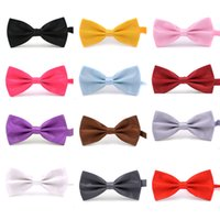 Wholesale Candy Color Men Ties - 50PCS LOT New Formal Commercial Bow Tie Male Solid Color Marriage BowTies for Men Candy Color Butterfly Cravat Bow ties Butterflies