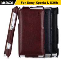 Wholesale Phone Cover Xperia L - Case for Sony Xperia L Luxury Vertical Flip Leather Case Cover for Sony Xperia L S36H C2105 C2104 iMUCA Mobile Phone Cases