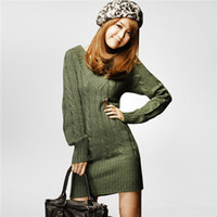 Wholesale Womens Long Warm Sweaters - NEW WOMENS LONG SLEEVE WARM WINTER KNIT SLIM PLUS SIZE TUNIC SWEATER DRESS Women Sweater Dress