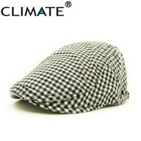 Wholesale Houndstooth For Men Women - Wholesale-Cotton woven berets caps hat with red khaki jacquard checked plaid Houndstooth for adult women men unisex adjustable