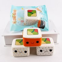 Wholesale Sushi Package - 20PCS Cute Face Squishy Square Sushi Phone Strap Bag Charms Food Toys Rare Squishies Slow Rising with Packages