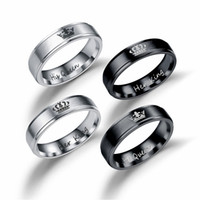 Wholesale Couples Black Wedding Bands - Stainless Steel Her King His Queen Ring Silver Black Band Ring Couple Rings for Lovers Wedding Jewelry Drop Shipping