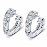 Wholesale Hoops For Clasp - New Brand Fashion 925 Sterling Silver Luxury Crystal Hoop Clasp Heart Design Earring For Women Girl Ear Jewelry Gift