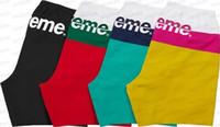 Wholesale Nylon Gym Shorts - 2017 Hot high quality fashion casual men gym shorts hip hop splicing letters printing sports shorts beach shorts black blue yellow red