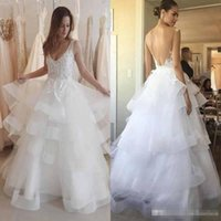 Wholesale White Ruffle Layered Skirts - Modest 2017 Beach Wedding Dresses V Neck Layered Tiered Ruffle Skirts A Line Lace Appliques Backless Bridal Gown Boho Custom Made
