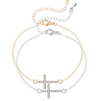 Wholesale Sideway Cross Charm Wholesale - Wholesale-1pcs Rhinestone Sideway Cross Bracelet in Silver or Gold Plated Rhinestone Cross Charm Bracelet For Women Jesus Piece